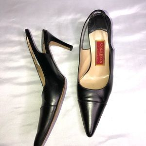 Cole Haan City Black Leather Slingback Heels